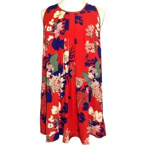 Umgee Red Floral Lace Trimmed Dress